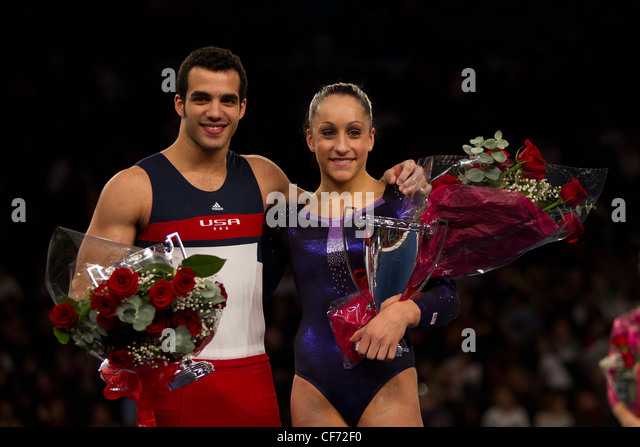 Danell Leyva (left) and Jordyn Wieber winners of the 2012 American Cup Gymnastics - Stock Image