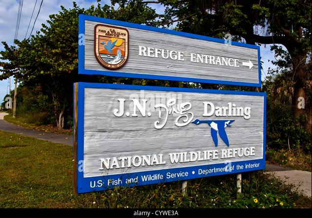 Entrance sign J.N. Ding Darling National Wildlife Refuge, Sanibel Island, Florida - Stock Image