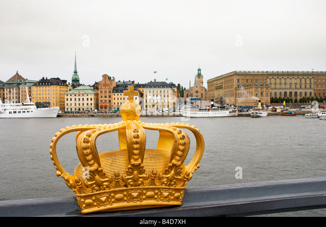 Golden crown in Stockholm - Stock Image