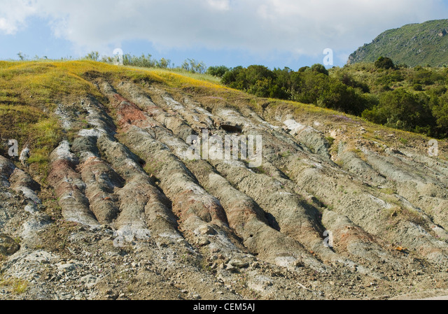 Andalucia, Spain; Craters Created In Landscape By Heavy Rainfall On Mountain Side - Stock Image