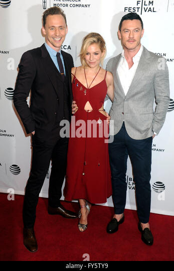 New York City. 20th Apr, 2016. Luke Evans, Sienna Miller and Tom Hiddleston attend the 'High-Rise' premiere - Stock Image