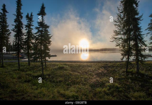 Sunset over Chena Lakes recreational area, Alaska - Stock Image
