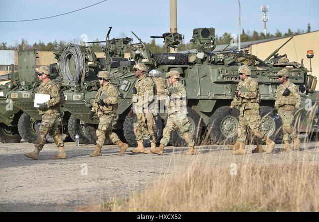 Brandys N.L. St. Boleslav, Czech Republic. 25th Mar, 2017. First part of U.S.-British military convoy arrived to - Stock-Bilder