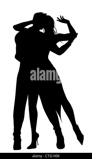 dancing couple silhouette - Stock Image