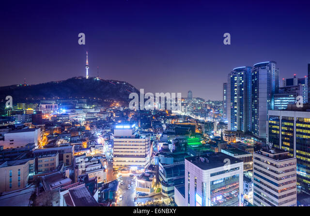 Seoul, South Korea skyline at night. - Stock Image