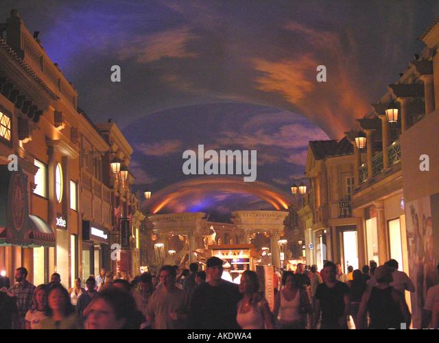 Las Vegas Nevada Las Vegas strip Caesars Palace Forum Shops crowds blue sky - Stock Image