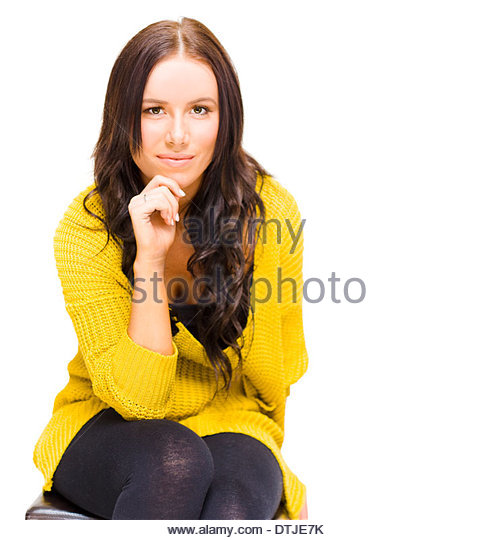 Student University Lady Wearing Yellow Graduate Jersey Deep Thought And Concentration When Thinking About Potential - Stock Image