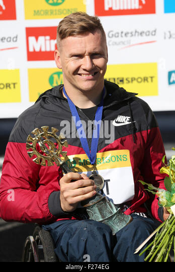 South Shields, UK. 13th Sep, 2015. David Weir, the winner the men's wheelchair race at the Great North Run, - Stock Image