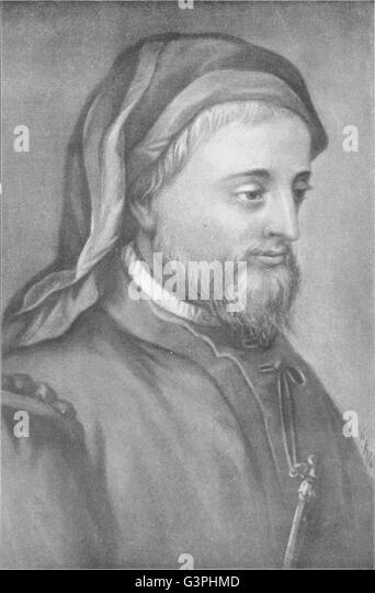 AUTHORS: Geoffrey Chaucer, antique print 1907 - Stock Image