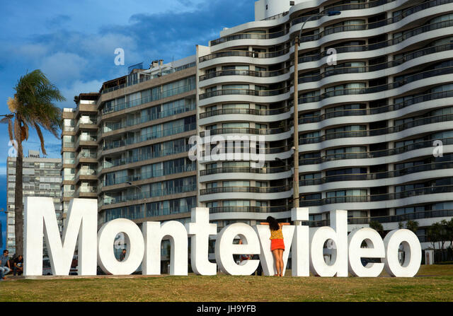 Montevideo written in giant letters at the eastern city access, Montevideo, Uruguay - Stock Image
