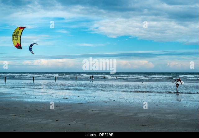 Wind surfer on Tyrella Beach County Down, Northern Ireland - Stock Image