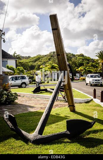 Anchor, Nelson's Dockyard, English Harbor, Antigua - Stock Image