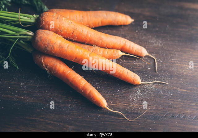 High Angle View Of Carrots On Table - Stock Image