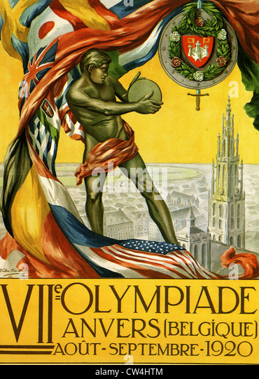 1920  OLYMPIC GAMES Poster advertising the VII games in Anvers, Belgium - Stock Image
