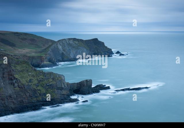 Cliffs near Hartland Point in North Devon, England. Spring (April) 2012. - Stock Image