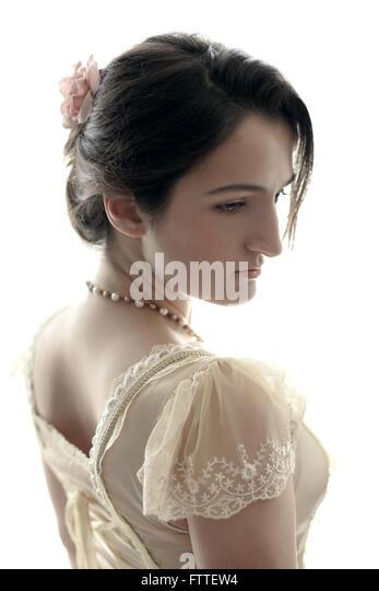 Young historical brunette woman - Stock-Bilder
