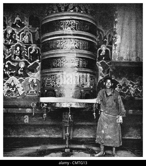 1925 Gigantic prayer wheel gilded yak hide Muli monastery Tibet - Stock Image