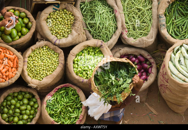 Market, Trivandrum, Kerala, India - Stock Image