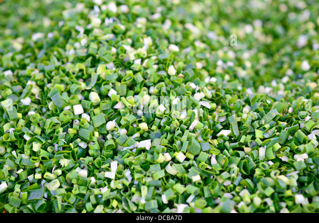 Fresh pile of diced leek onion - Stock Image
