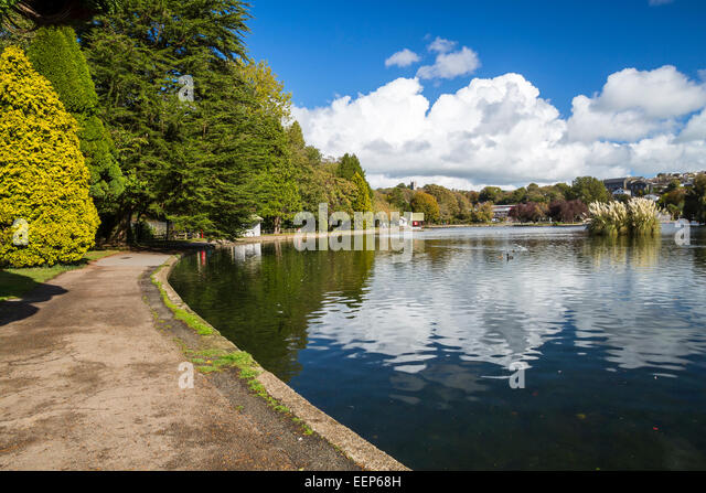 Beautiful reflections at Helston Boating Lake Cornwall England UK Europe - Stock Image