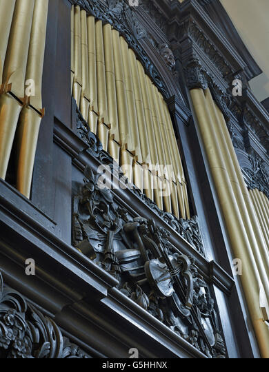 St Magnus the Martyr church in the City of London, by Chrisopher Wren. Organ by the Jordan family - Stock Image