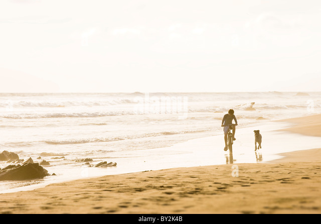 A boy rides his bicycle while a dog runs alongside on a sandy beach in Mexico. - Stock Image