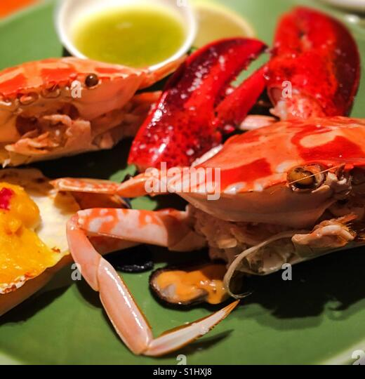 The steam crabs in Hong Kong style - Stock Image