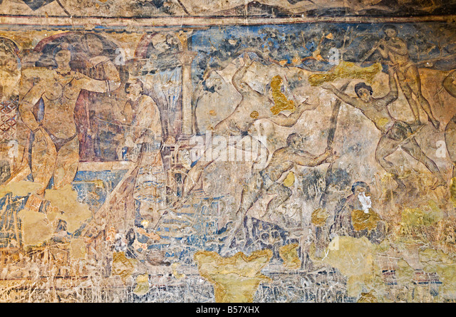 Wall paintings in the Qusayr Amra (Quseir Amra) bathhouse, UNESCO World Heritage Site, Jordan, Middle East - Stock Image