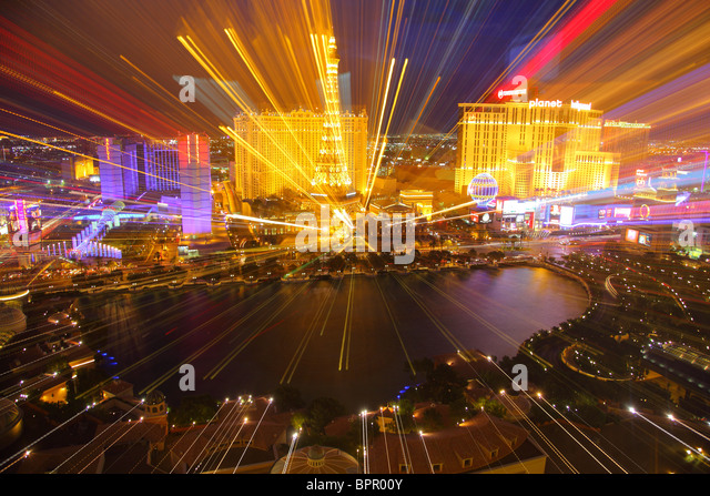 Zoom out effect, Las Vegas Strip - Stock Image