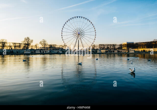 The ferris wheel on Concorde square reflects on the pond water surface in the Tuileries Garden, Paris, France. - Stock Image