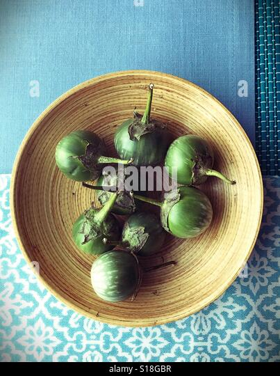 Thai eggplants in a bowl. - Stock-Bilder