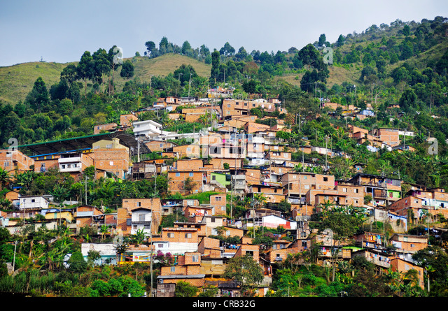 Slums, Comuna 13, Medellin, Colombia, South America, Latin America, America - Stock Image
