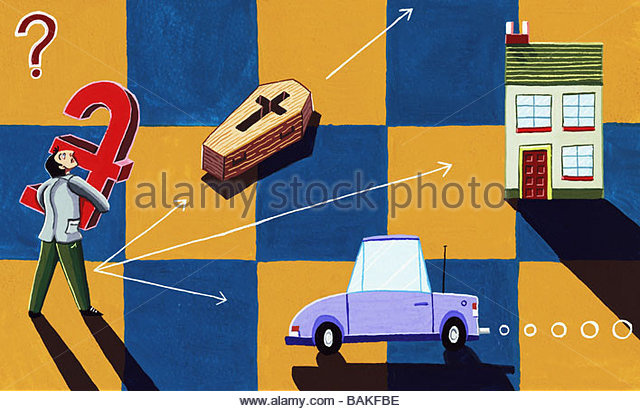 Man Making Decisions about Saving - Stock Image