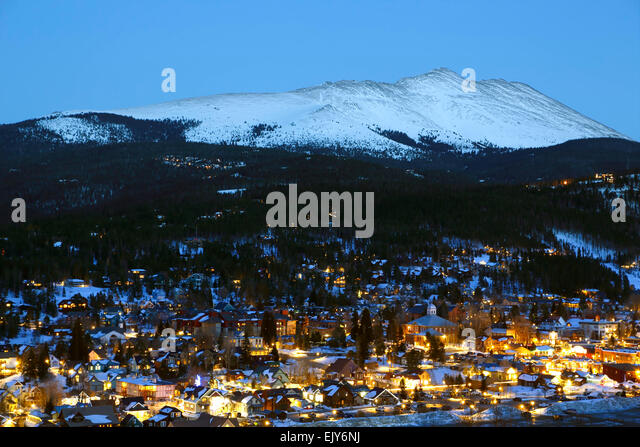 Snow-covered Bald Mountain and Breckenridge, Colorado USA - Stock Image
