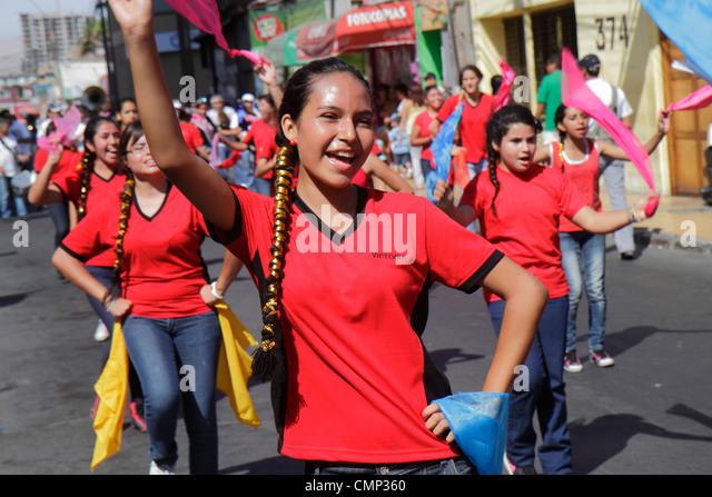 Chile Arica Avenida Arturo Prat Carnaval Andino Andean Carnival parade indigenous Aymara heritage folklore celebration - Stock Image