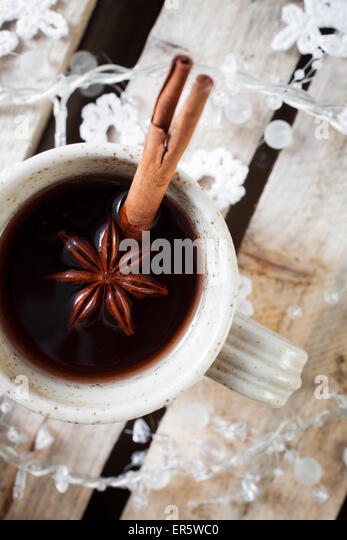 Mulled wine, traditional hot Christmas drink - Stock Image