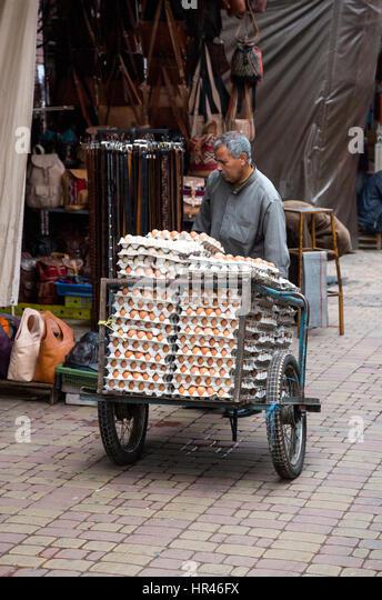 Marrakesh, Morocco.  Egg Man Delivering Eggs in the Medina. - Stock Image