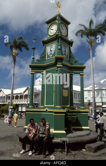 West Indies St. Kitts Basseterre Berkeley Monument colonial style clock tower copied from Picccadily Circus - Stock Image
