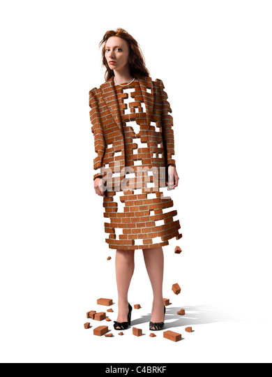 woman made of bricks that are breaking apart seen against white background - Stock Image