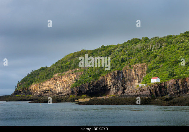 Digby Gut foghorn and light station on the tip of the North Peninsula of Annapolis Basin Nova Scotia - Stock Image