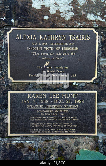 Lockerbie PanAm103 In Rememberance Memorial Alexia Kathryn Tsairis Innocent Victim of terrorism Foundation For World - Stock Image