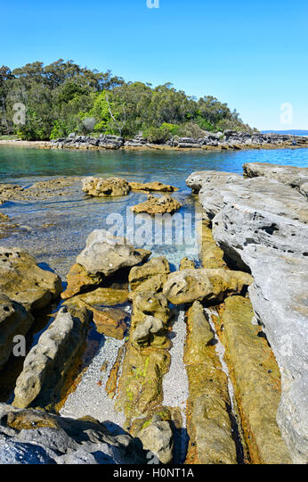 Scenic view of Honeymoon Bay, Jervis Bay, Beecroft Weapons Range, New South Wales, NSW, Australia - Stock Image