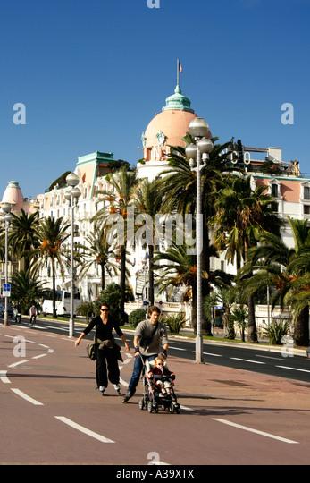 France Nice Promenade des Anglais Hotel Negresco scater - Stock Image