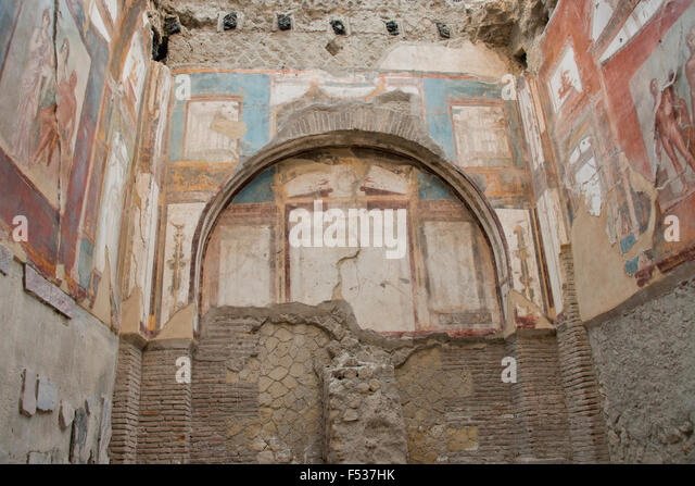 Italy, Herculaneum. City covered in ash when Mt. Vesuvius erupted in 79 A.D. where it stayed buried for more than - Stock-Bilder