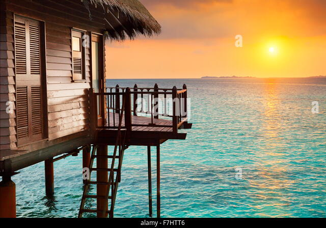 Tropical sunset landscape at Maldives Island - Stock Image