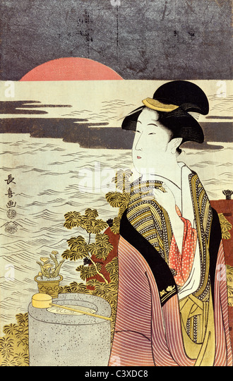 A girl and the sunrise over the sea at New Year, by Eishosai Choki. Japan, 18th century - Stock-Bilder