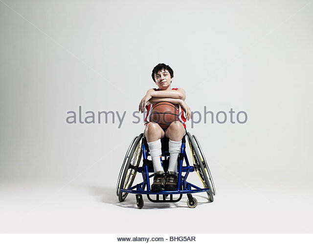 Junior wheelchair basketball player - Stock Image