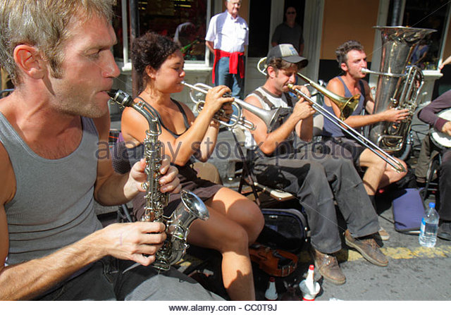 New Orleans Louisiana French Quarter Royal Street street performer Tuba Skinny musical band musician jazz blues - Stock Image