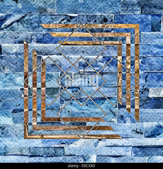 Blue-toned bricks with brown geometric pattern and diamond tangle overlay. - Stock Image