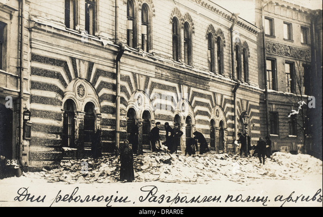 Archive destroyed during Russian Revolution - Stock Image